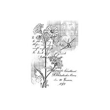 FLOWER & BIRD GRID - First Edition A7 Rubber Stamp