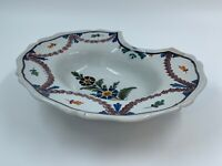 PLAT A BARBE XIX EME EN FAIENCE NEVERS DECOR FLORAL M60