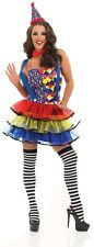 Womens Clown Tutu Costume S - 3XL Ladies Circus Fancy Dress + Stockings Carnival