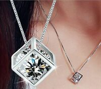 1PC Women's Silver plated Chain Crystal Rhinestone Pendant Necklace