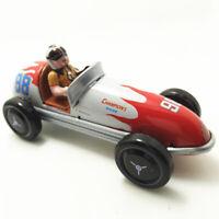 Vintage Wind Up Racing Race Car Racer Driver Clockwork Tin Toy Gifts 14*6*6cm