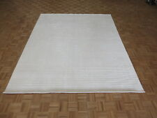 8'2 X 10 Hand Loomed Ivory Oriental Rug Bamboo Silk Modern Contemporary G6042
