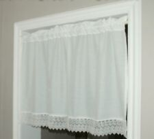 2 X Creamy White Kitchen Curtains/ Door Curtains with Lace