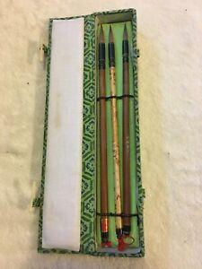 VINTAGE CHINESE CALLIGRAPHY PAINTING BRUSH SET BOX NEW 3 Brushes Reborn Art