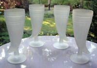 Tiara Indiana Glass 4 Satin Frosted Crystal Powder Horn 10 oz Footed Tumblers