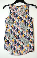 BLACK GREY GEOMETRIC LADIES CASUAL TOP BLOUSE SIZE 6  ATMOSPHERE