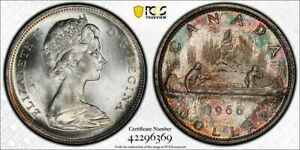 1966 Canada $1 Dollar PCGS MS64 Lot#G1213 Silver! Beautiful Toning!