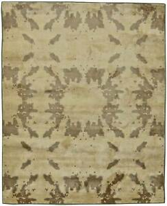 Contemporary Beige and Brown Hand Knotted Silk Rug N11127