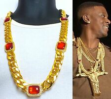 """MENS ICED OUT HIP HOP 15mm 33"""" RAPPERS MIAMI CUBAN LINK RED RUBY CHAIN NECKLACE"""