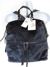 JESSICA SIMPSON Navy Velvet Black Faux Leather Backpack Purse