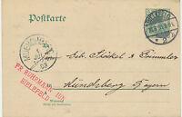 "DT.REICH ""BIELEFELD / 2"" K2 5 Pf Germania GA-Postkarte nach ""MUENCHBERG"" 1903"