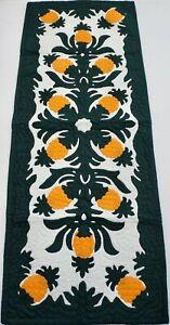 Hawaiian quilt hand quilted/appliquéd handmade TABLE BED runner PINEAPPLE
