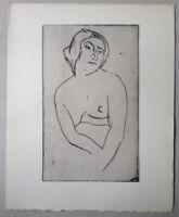 AJ NEUHUYS gravure eau forte nude woman etching portrait de femme nue la juive