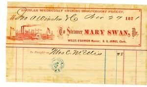 """STEAMBOAT FREIGHT BILL """"Mary Swan"""""""