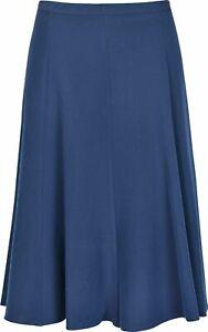 New Ladies Womens 8 Panel Plain Printed Skirt Elasticated Waist 27 Inch Length