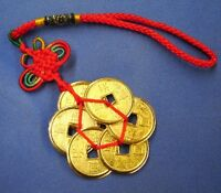 Feng Shui Shinning Gold Plum Shape Chinese I Ching Money Lucky Coin Charm