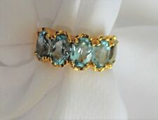 HSN Technibond  Blue Topaz Aquamarine 5 Stone Ring Sz 6 Gold Plated 925 New