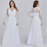 US Ever-Pretty Plus Size White Wedding Dress Long Sleeve Evening Prom Gown 08692