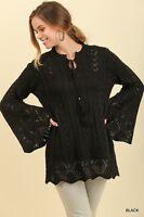 UMGEE Women's Warm Crochet Knit Boho Tunic Sweater Long Bell Sleeve Pullover