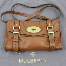 Authentic Mulberry Alexa Buffalo Leather Messenger Shoulder Bag in Brown