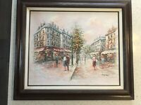 Oil Painting On Canvas Paris Scene Signed 31x27