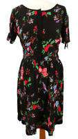 Yumi 10 Black Multicoloured Floral Short Sleeve Fit Flare Dress V Back Summer