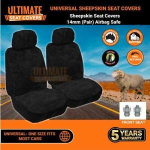 Universal Sheepskin Seat Covers 14MM Genuine Sheepskin Airbag Safe Black