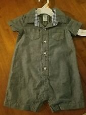 NEW~CARTER'S BABY BOYS SZ 12 MONTHS ONE PIECE OUTFIT. DENIM LOOK. COTTON.