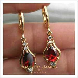 Almandine Red Garnet 4.3Ct Pear Diamond Drop & Dangle Yellow Gold Women Earrings