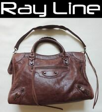 100% authentic BALENCIAGA The City shoulder bag Brown Leather (USED)