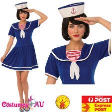 Ladies Navy Blue Sailor Costume Girls Uniform Rockabilly Pin Up 50s Fancy Dress