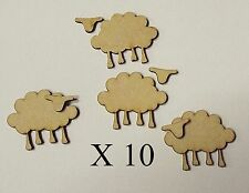 Pack of 10 MDF 50mm High 2 Piece Sheep for embellishing your project #01