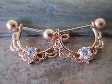 Clear CZ Crystal Nipple Ring Shield Piercings Gold IP Rose Gold IP Silver IP