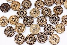 Bohemian Coconut Buttons Brown Pattern Two Holes Natural Material DIY 15mm 20pcs