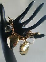 Vtg Large dramatic Gold Tone Chain with large heart charms bracelet