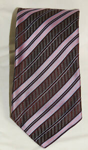 "ERMENEGILDO ZEGNA Purple Textured Silk Stripe Tie 59"" x 3 1/2"""