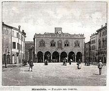 Mirandola: Palazzo Comunale. Modena. Emilia. Stampa Antica + Passepartout. 1891