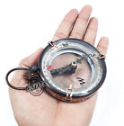 Vintage Steampunk Brass Glass Compass Working Collectible Nautical Maritime