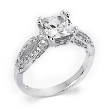 1.25 tcw Princess Cut Engagement Ring Solid Silver Modern Style Design