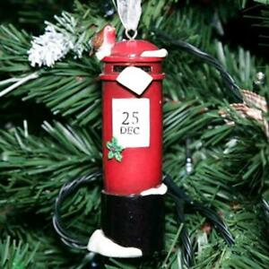 Hanging Post Box with Robin Christmas Tree Decoration