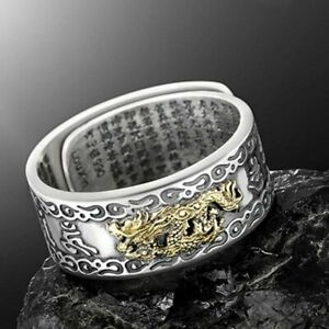 Feng Shui 925 Silver Amulet Ring Pixiu Wealth Lucky Open Adjustable Buddhist Hot