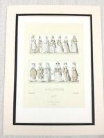 1888 Antico Stampa 17th Secolo Inglese Costume Abito Storico Moda Inghilterra