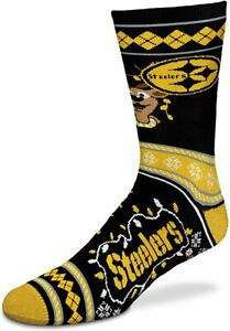 Pittsburgh Steelers NFL Ugly Christmas Sweater Stripe Holiday Crew Socks - Large