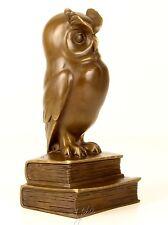 Bronzefigur mit Marmorsockel Bronze Figur Eule Vogel Uhu