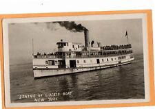 Real Photo Postcard RPPC - Statue of Liberty Boat New York