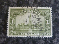 CANADA POSTAGE STAMP SG285 $1 GREEN VERY FINE-USED