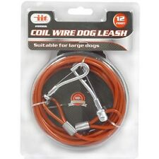 12 ft HEAVY DUTY DOG COIL WIRE LEASH UP TO 80 LBS Lead Collar Rope Cord Walking