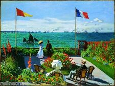 Garden at Sainte Adresse by Claude Monet Giclee Print Repro on Canvas
