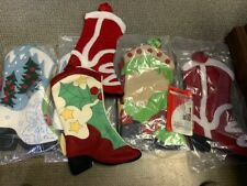"""8 NEW Boot Christmas Stockings 18"""" assorted styles and colors & 4 new hangers"""