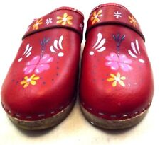 TESSA Girls CLOGS Loafers US 4 M EU 36 SHOES WOODEN HAND PAINTED RED Leather